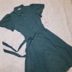 Nanette Lepore Green Black Polka Dot Dress
